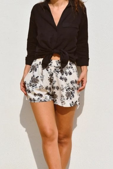 Ararose Clothing - Floral Shorts - Deep Blue & Vanilla Cream