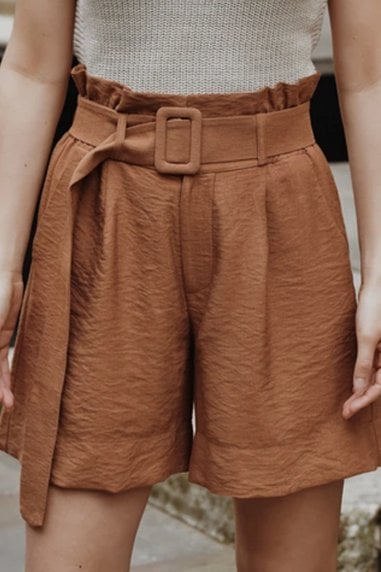 Ararose Clothing - High Waisted Belted Shorts - Rust