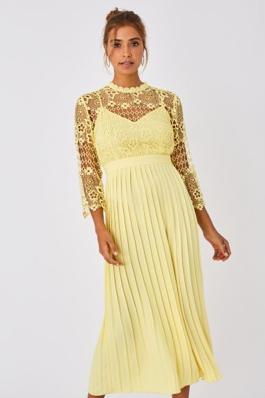 Tandi Lemon Zest Crochet Lace Pleated Midaxi Dress