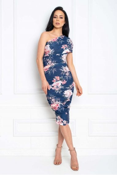 Alice Navy Floral Print Midi dress