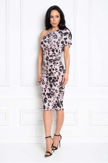Alice Pink Leopard Print Midi dress