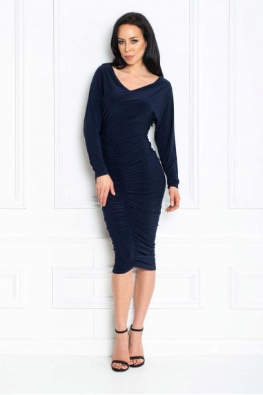 Farrah Navy Bardot Midi Bodycon Dress With Ruching