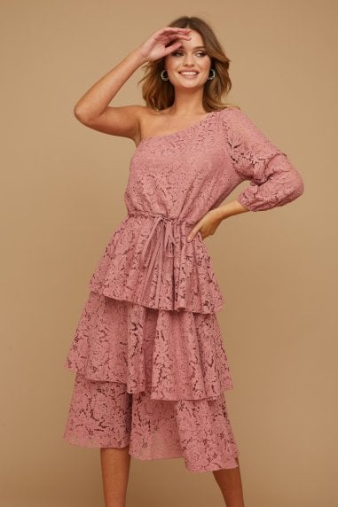 Folli Dusty Rose Lace Tiered Midi Dress
