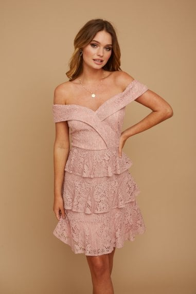 Cosima Nude Lace Bardot Mini Dress
