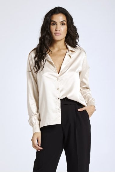 Nude Satin Shirt
