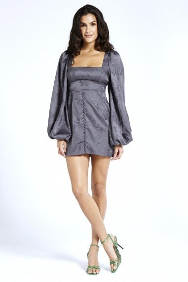 Bell Sleeve Dress in Jacquard Grey