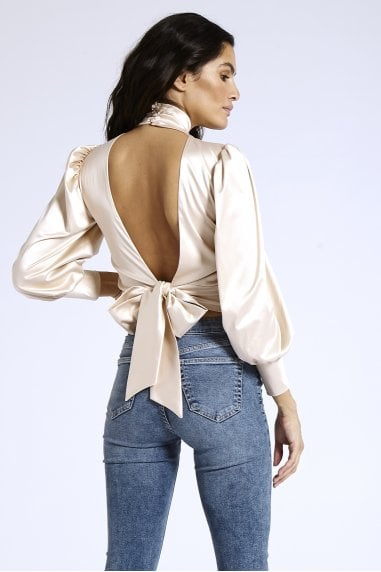 Open Back Blouse in Nude