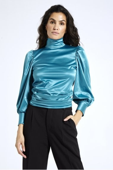Satin Open Back Blouse in Blue