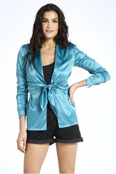 Satin Blazer in Blue