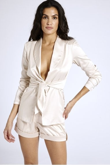 Satin Blazer in Nude