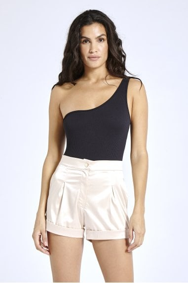 Nude Satin Tailored Shorts