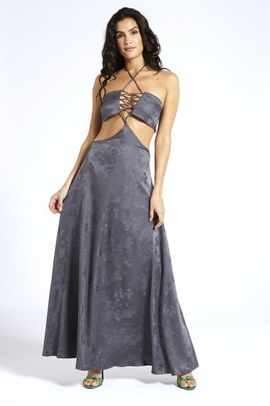 Satin Maxi Dress in Grey