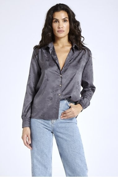 Jacquard Grey Satin Shirt
