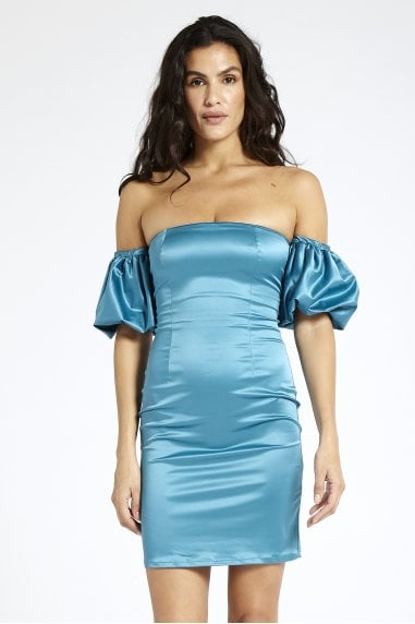 Blue Puff Sleeve Strapless Dress