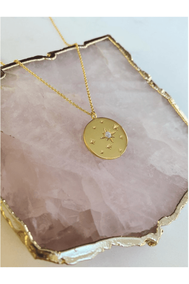 Gold Opal Disc Necklace