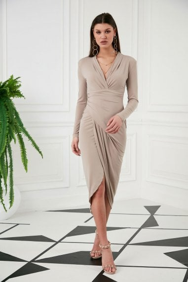 Wrap Midi Dress with Front Slit ın Nude colour