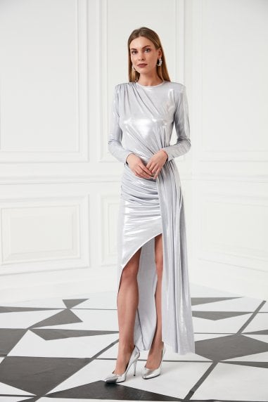 Ocassıon Maxi Dress with front Slit in Metallic Silver colour