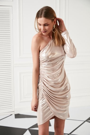 One Shoulder Draped Mini Dress for Summer Party in Pink colour