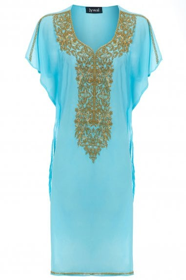 EMBELLISHED SHORT BEACH KAFTAN TUNIC DRESS