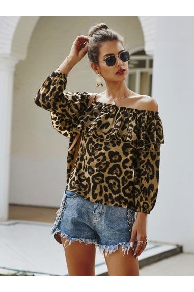 Off The Shoulder Frill Top In Brown Leopard Print