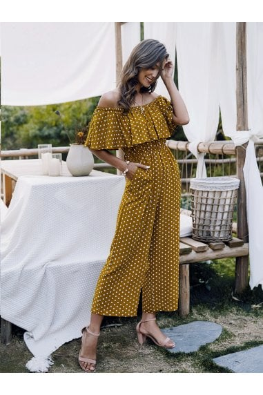Off The Shoulder Frill Jumpsuit In Mustard Yellow Polka Dot