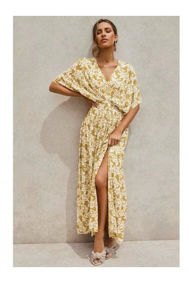 V Neck & Back Detail Bohemian Style Maxi Dress In Olive Yellow Floral Print