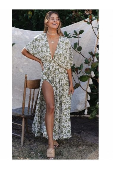 V Neck & Back Detail Bohemian Style Maxi Dress In Olive Green Floral Print