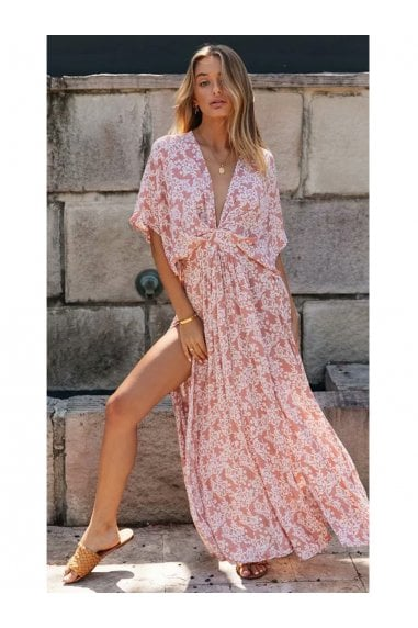 V Neck & Back Detail Bohemian Style Maxi Dress In Pink Floral Print