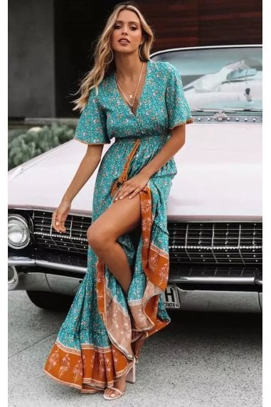Bohemian Style Maxi Dress In Mint Green Print