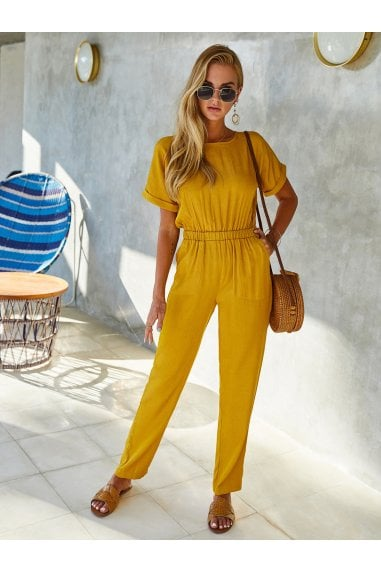 Back Detail Short Sleeve Jumpsuit In Yellow