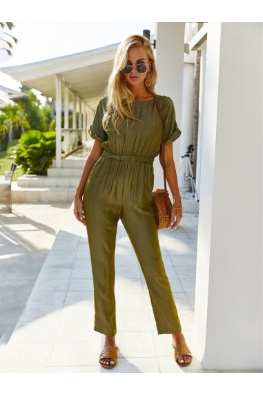 Back Detail Short Sleeve Jumpsuit In Olive Green