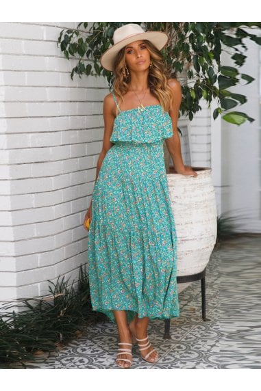 Strappy Frill Midi Dress In Mint Green Print