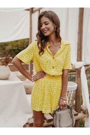 Shirt Style Jumpsuit In Yellow & White Spot Print