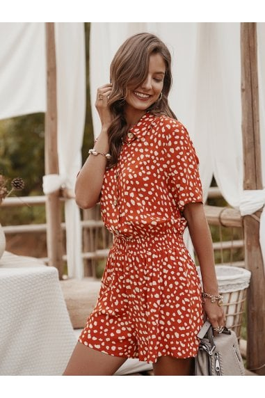 Button Down Playsuit In Orange Spot Print