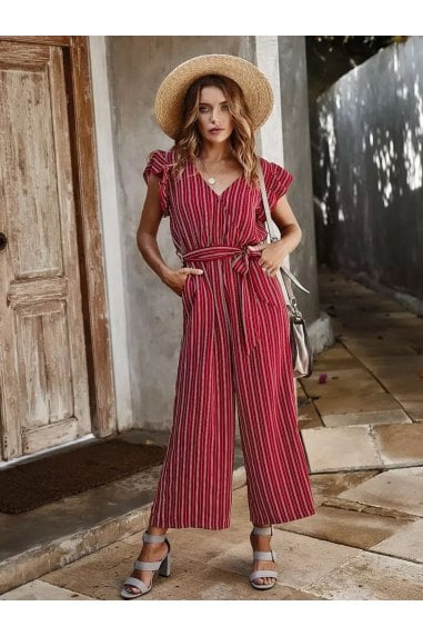 Red Stripe Sleeveless Jumpsuit With V Neckline