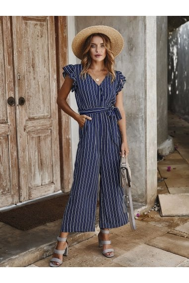 Navy Stripe Sleeveless Jumpsuit With V Neckline