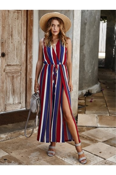 V Neck Sleeveless Jumpsuit In Stripe Blue & Red & White