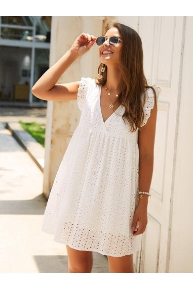 White Embroidery Anglaise Mini Dress