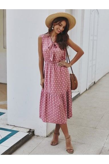 Tiered Midi Dress In Pink Polka Dot