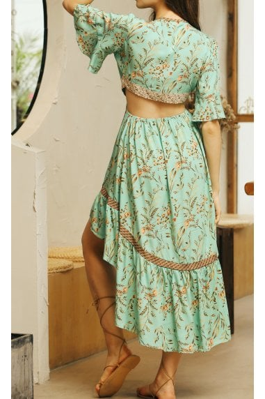 Bohemian High Low Maxi Dress With Back Detail In Green Floral Print