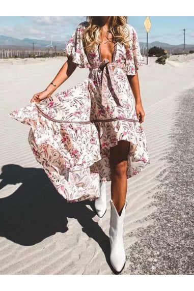 Bohemian High Low Maxi Dress With Back Detail In Pink Floral Print