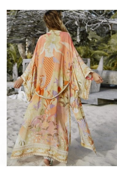Relaxed Kimono In Orange Mermaid Floral