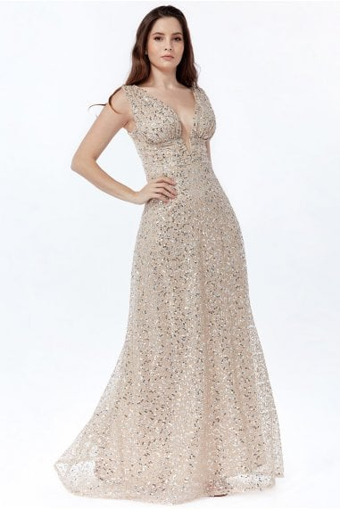 Goddiva Plunge V Neck Sequin Maxi Dress - Champagne