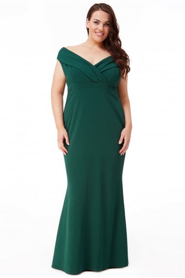 Goddiva Plus Front Wrap Off the Shoulder Maxi Dress - Emerald