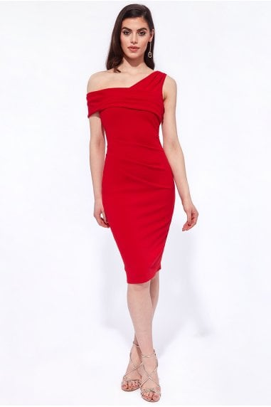 Goddiva One Shoulder Midi Dress - Red