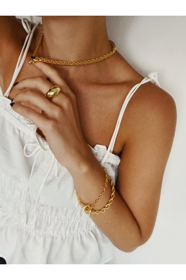 Gold Woven Chain Necklace