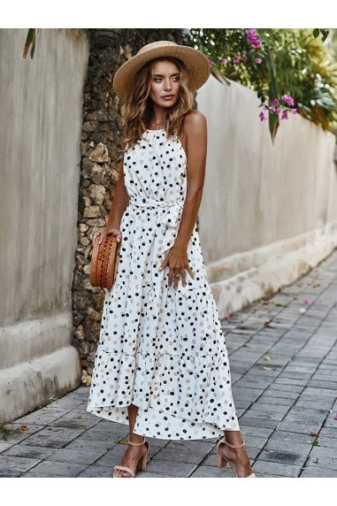 Halterneck Tiered High Low Dress In White & Black Polka Dot