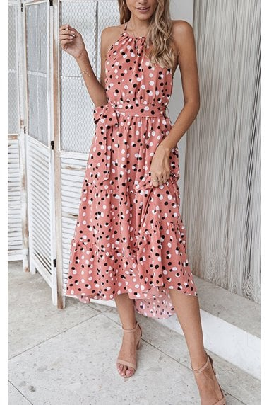 Halterneck Tiered High Low Dress In Pink & Black Polka Dot