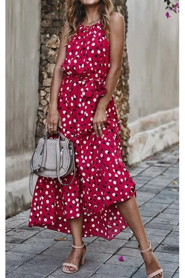 Halterneck Tiered High Low Dress In Wine Red & Black Polka Dot