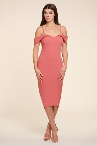 Olivia Coral Pencil Hem Midi Dress